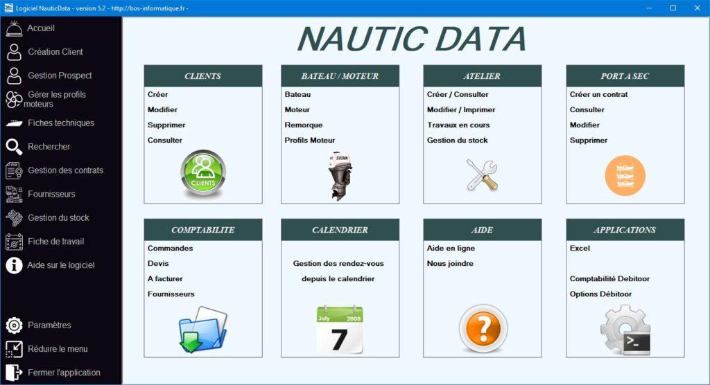 Présentation de l'accueil NauticData